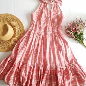 Eva Franco | Pink White Floral Halter Midi Dress